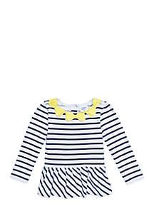 Toddler Girls Long Sleeve Peplum Top