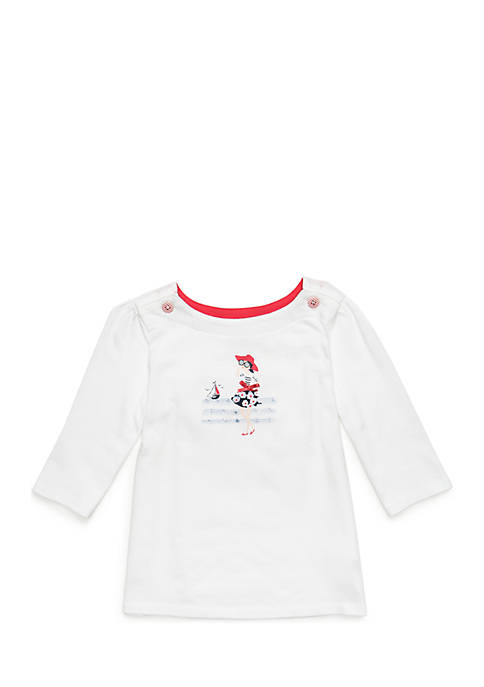 Crown & Ivy™ Toddler Girls Button Shoulder Top