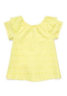 Crown & Ivy™ Toddler Girls Ruffle Shoulder Top