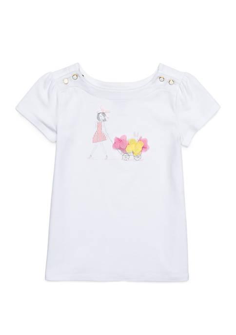 Crown & Ivy™ Toddler Girls Button Shoulder Tee