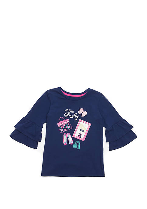 Crown & Ivy™ Toddler Girls Double Ruffle Sleeve