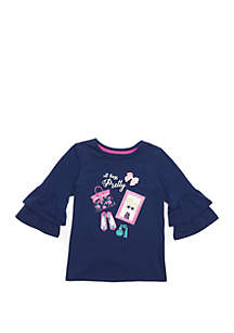 Crown & Ivy™ Toddler Girls Double Ruffle Sleeve T Shirt