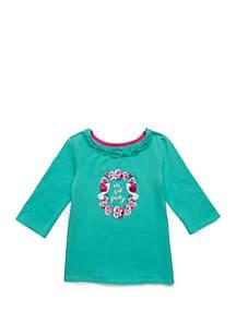 Crown & Ivy™ Toddler Girls Ruffle Neck T Shirt