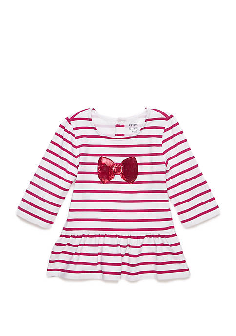 Crown & Ivy™ Toddler Girls Long Sleeve Bow