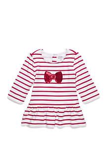 Crown & Ivy™ Toddler Girls Long Sleeve Bow T Shirt