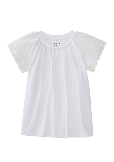 Crown & Ivy™ Toddler Girls Short Sleeve Eyelet