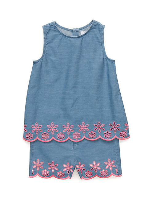 Crown & Ivy™ Toddler Girls Embroidered Chambray Set