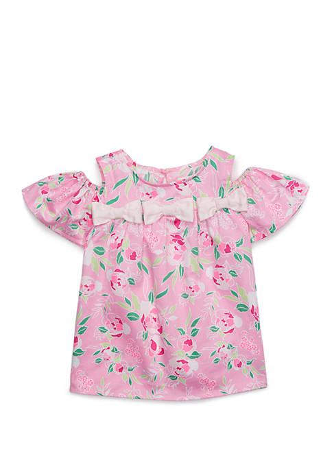 Toddler Girls Cold Shoulder Woven Top