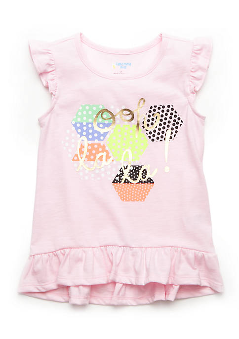 Lightning Bug Ruffle Hem Graphic Tee Toddler Girls