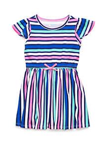Lightning Bug Toddler Girls Flutter Sleeve Elastic Waist Dress