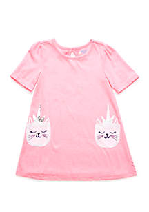 Lightning Bug Toddler Girls Short Sleeve Pocket Dress