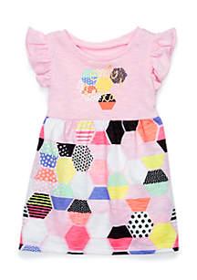Infant Girls Flutter Sleeve Dress