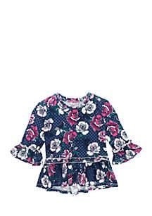Toddler Girls Floral Peplum Top