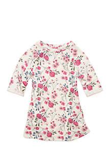 Toddler Girls Three-Quarter Sleeve Shift Dress