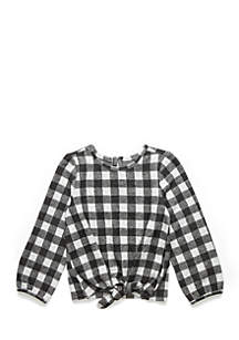 Girls 4-6x Long Sleeve Tie Front Top