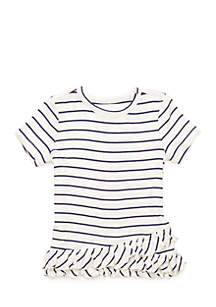 Toddler 4-6x Short Sleeve Ruffle Hem Tee
