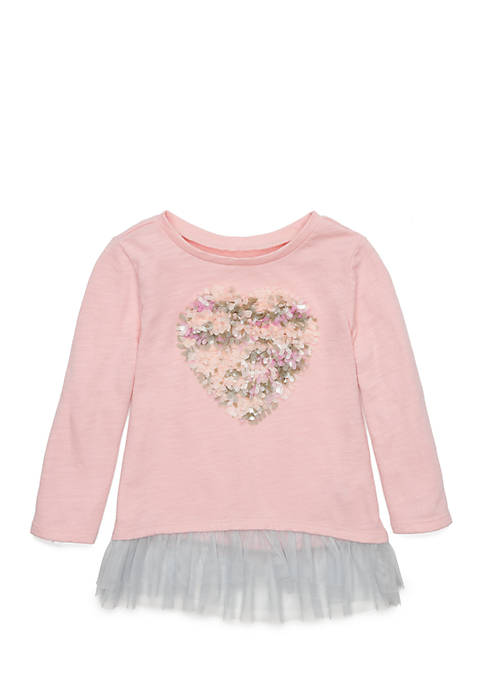 TRUE CRAFT Newborn Girls Long Sleeve Peplum Tee
