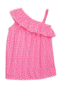 Toddler 4-6X Polka Dot One Shoulder Dress