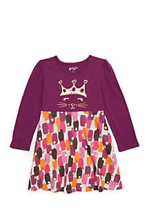 Toddler Girls Long Sleeve Skater Dress