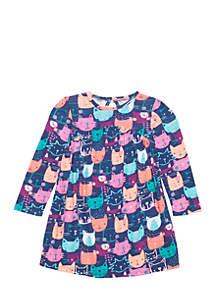 Toddler Girls Kitty Print Swing Dress with Yoke