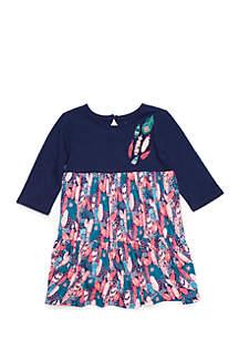 Toddler Girls Three-Quarter Sleeve Tiered Dress