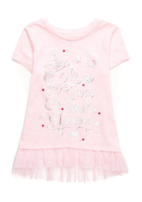 Lightning Bug Toddler Girls Short Sleeve Tulle Hem