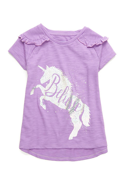 Lightning Bug Toddler Girls Short Sleeve Ruffle Shoulder