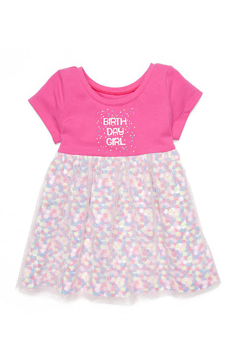 Lightning Bug Baby Girls Short Sleeve Birthday Dress