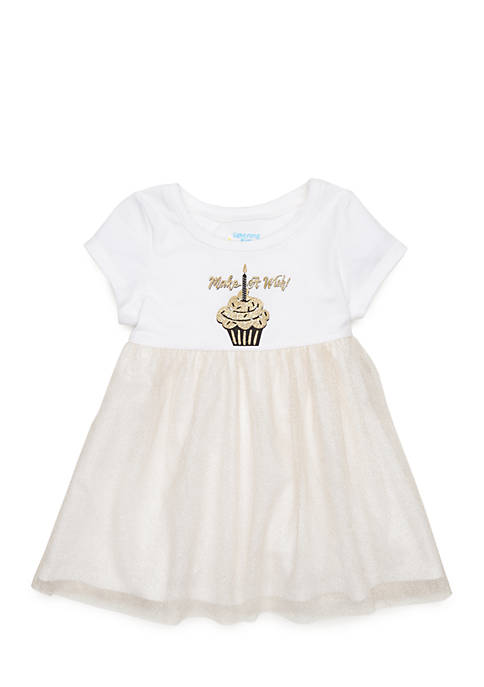 Lightning Bug Newborn Girls Short Sleeve Birthday Dress