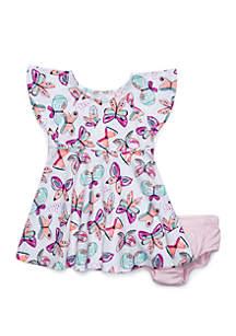 Lightning Bug Baby Girls Flutter Sleeve Dress