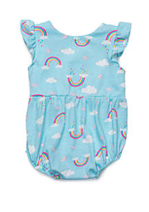 4445387b822 ... Lightning Bug Baby Girls Ruffle Sleeve Sunsuit