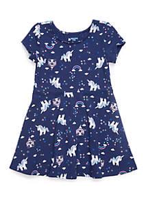 Lightning Bug Toddler Girls Short Sleeve Skater Dress