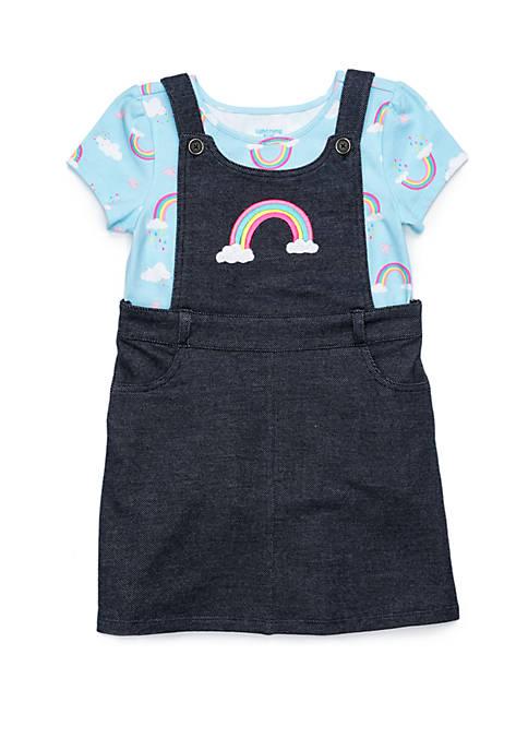Lightning Bug Toddler Girls 2-Piece Short Sleeve Ruffle