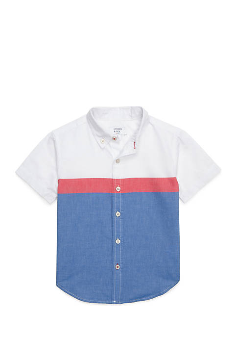 Crown & Ivy™ Toddler Boys Woven Colorblock Shirt