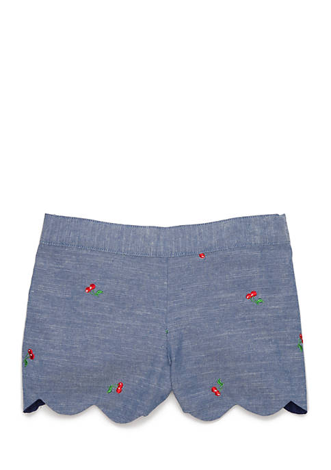 Crown & Ivy™ Toddler Girls Cherry Chambray Shorts
