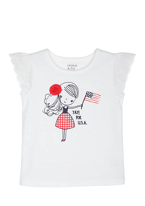 Crown & Ivy™ Toddler Yay For USA Top