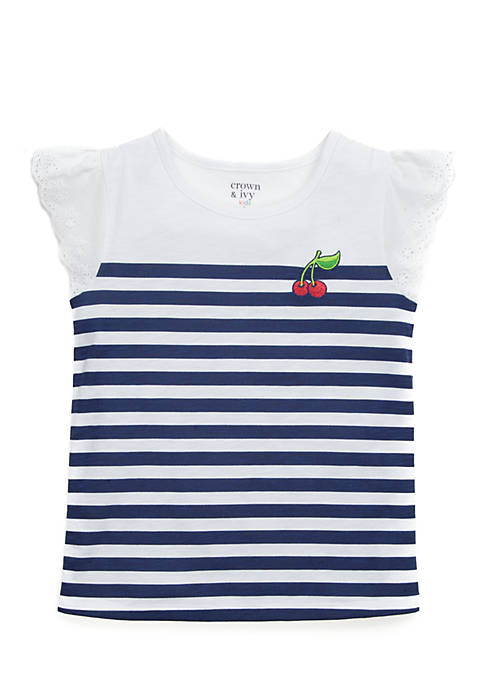 Crown & Ivy™ Toddler Girls Cherry Striped Tee