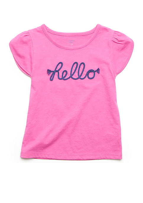 Crown & Ivy™ Hello Embroidered Tee Girls 4-8