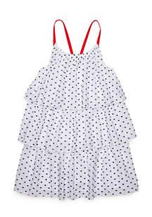 Toddler Girls Tiered Clip Dot Dress
