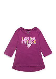 Toddler Girls 3/4 Sleeve Shirred Back Tee