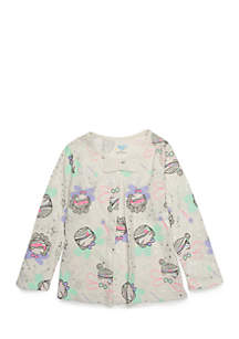 Toddler Girls Long Sleeve Bow Pleated Tee