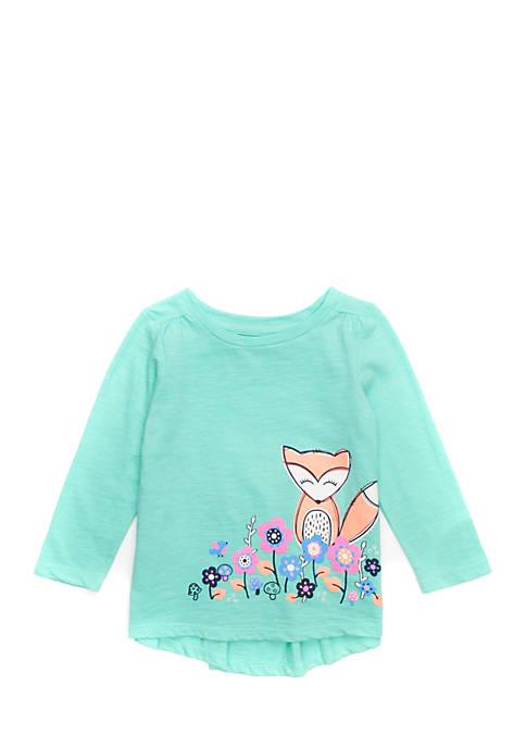 Baby Girls Long Sleeve Shirred Shoulder Tee