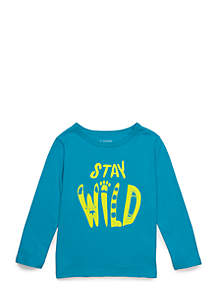 Toddler Boys Long Sleeve Bound Crew Neck Tee