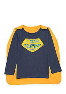 Toddler Boys Long Sleeve Tee with Detachable Cape