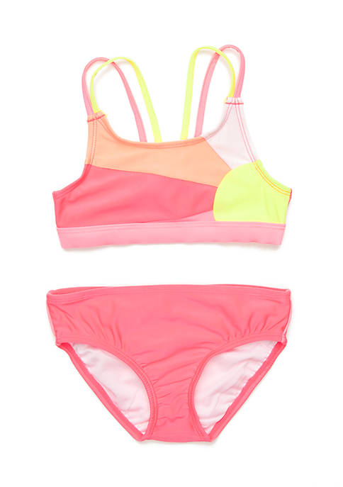 Lightning Bug Toddler Girls Sunset 2-Piece Swimsuit
