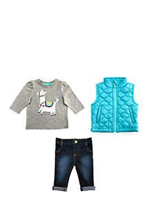 Baby Girls Gray Llama Vest Set