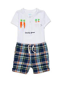 Lightning Bug Baby Boys Henley Tee and Woven Shorts Set