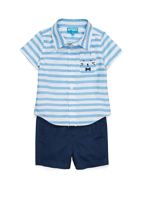 Lightning Bug Toddler Boys Button Front Shirt and