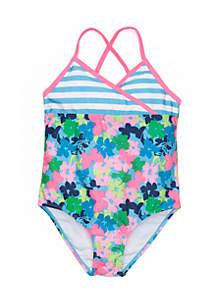 Toddler Girls Flower Stripe One-Piece Swimsuit