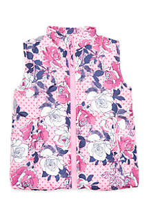 Crown & Ivy™ Toddler Girls Printed Puffer Vest